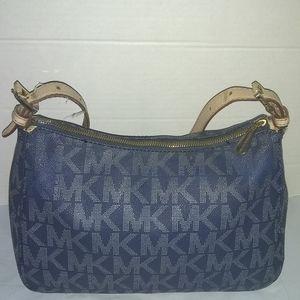 Michael Kors Blue Mono Canvas Shoulder Bag